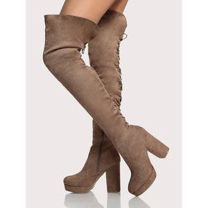 Back Lace Up Platform Thigh High Boots TAUPE - Anabella's