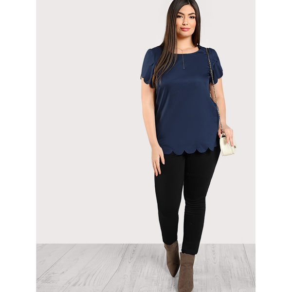 Tulip Sleeve Scallop Trim Keyhole Top PLUS NAVY - Anabella's