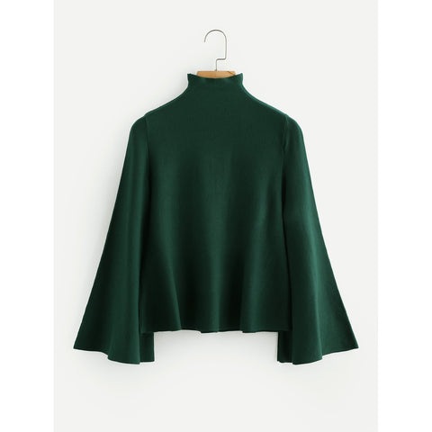 Mock Neck Flare Sleeve Jersey Jumper GREEN
