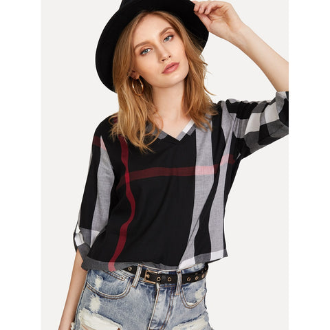 High Low Curved Hem Plaid Blouse Multi