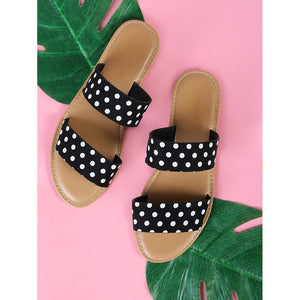 Polka Dot Double Banded Sandals BLACK - Anabella's