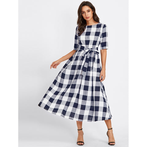 Buttoned Keyhole Self Tie Checkered Dress Multicolor