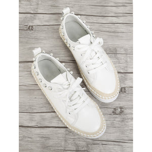 Faux Pearl Detail Lace Up Sneakers White