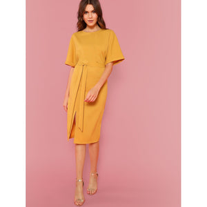 Rolled Up Sleeve Slit Hem Dress