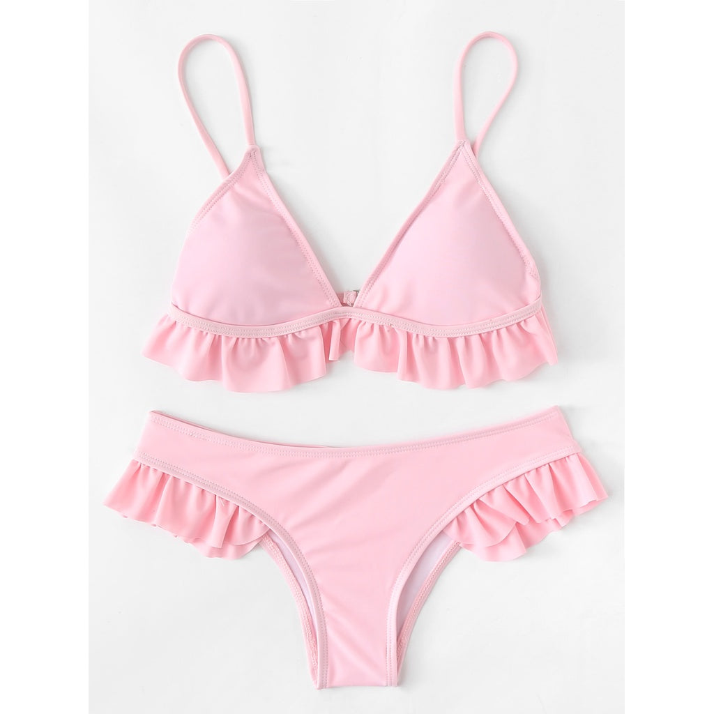 Adjustable Straps Ruffle Bikini Set PINK