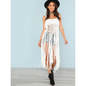 Shredded Fringe Swimsuit Cover Up
