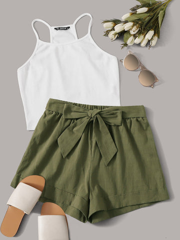 Rib-knit Racerback Crop Top & Tie Front Cuffed Shorts Set
