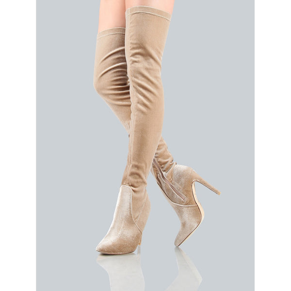 Closed Toe Velvet Thigh Highs CHAMPAGNE - Anabella's