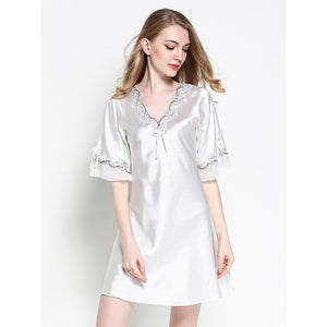 Satin Crochet Trim Frill Cuff Nightdress WHITE