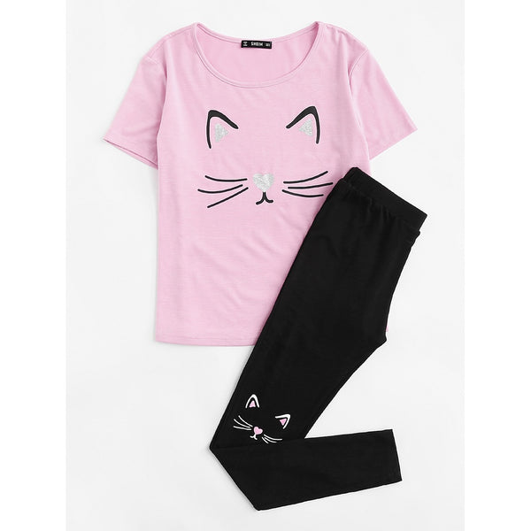 Cat Print Tee And Pants PJ Set MULTICOLOR