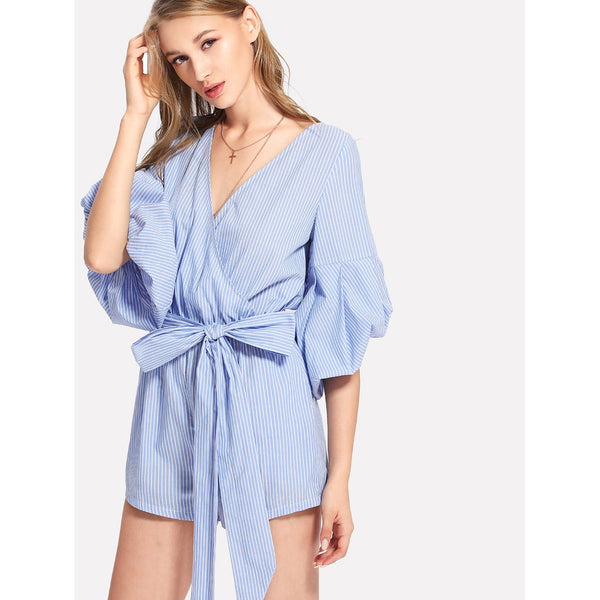 Contrast Tipping Flutter Sleeve Wrap Jumpsuit