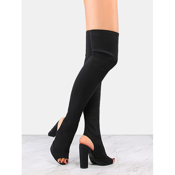 Chunky Heel Thigh Boots BLACK - Anabella's