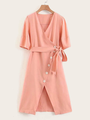 Button Front Belted Wrap Dress