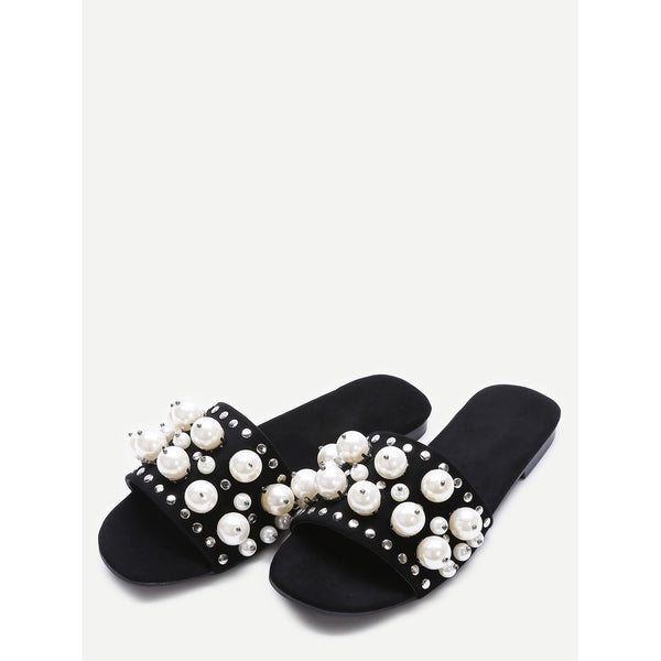 Black Open Toe Faux Pearl Inlay Studded Slippers - Anabella's
