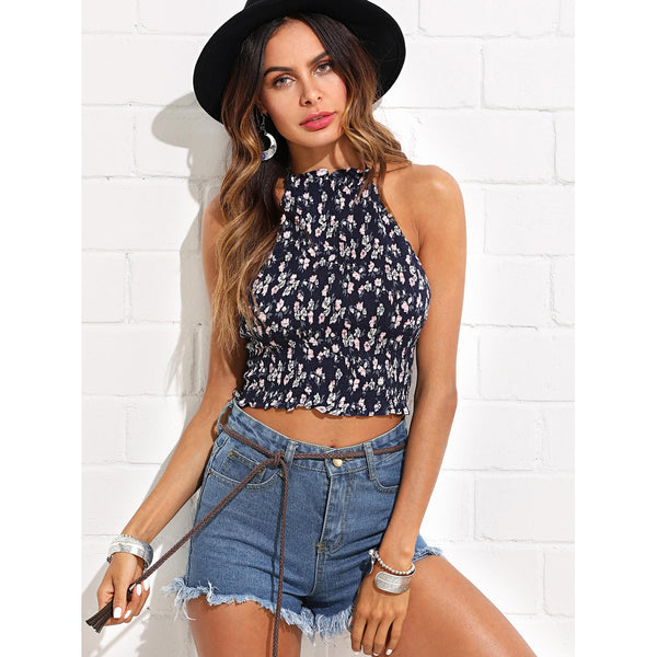 Calico Print Shirred Halter Top - Anabella's