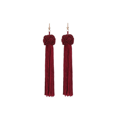Statement Tassel Long Drop Earrings Burgundy