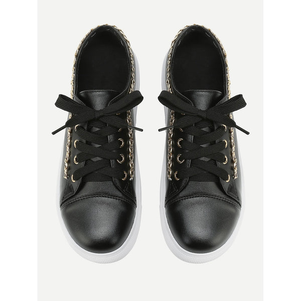 Chain Detail Lace Up Sneakers - Anabella's