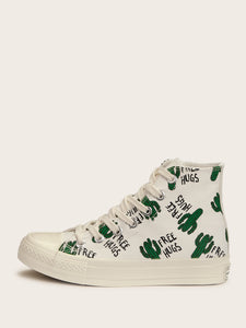 Cactus Print Lace-up Front Sneakers