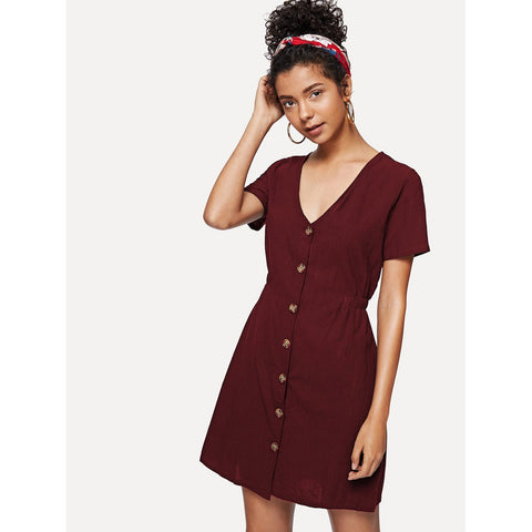 Single Breasted Front Dress Burgundy