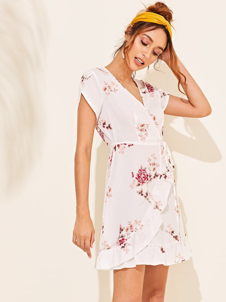 Floral Surplice Neck Ruffle Trim Dress With Wrap Skirt