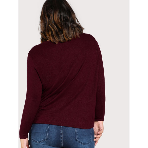 Twist Front Solid Tee - Anabella's