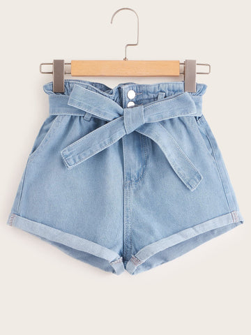 Paperbag Waist Belted Cuffed Denim Shorts
