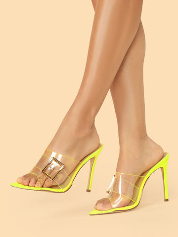 PVC Clear Band Buckle Detail Stiletto Heel Mules