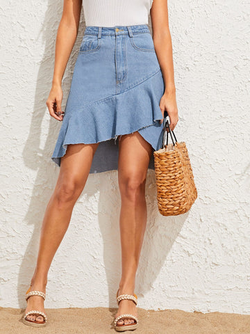 Ruffle Hem Asymmetrical Denim Skirt