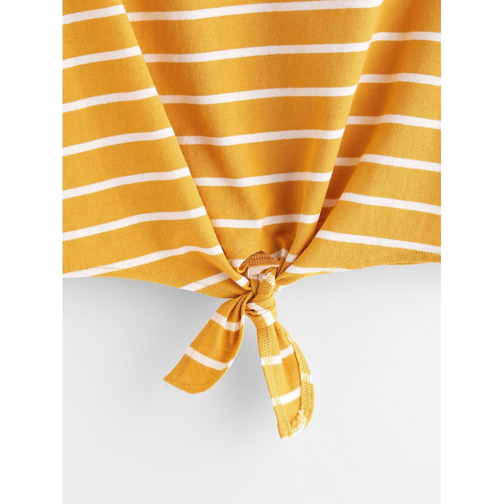 f4c37ace98df ... Striped Knot Front Tee YELLOW ...