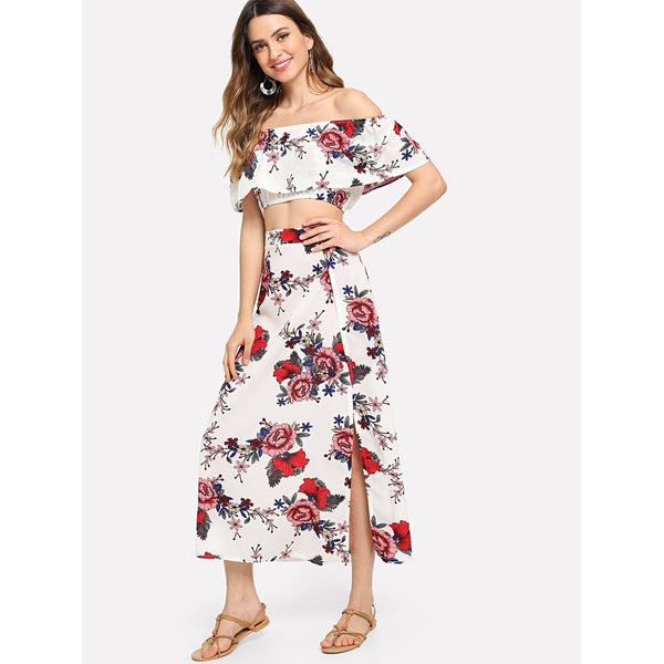 Bardot Floral Print Crop Top With Slit Side Skirt MULTI COLOR