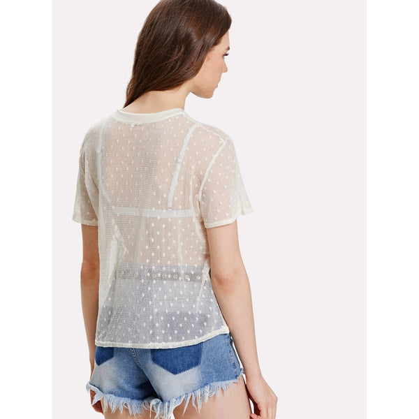 Bee Applique Lace Panel Sheer Top without Bralette