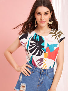 Tie Back Tropical Print Blouse