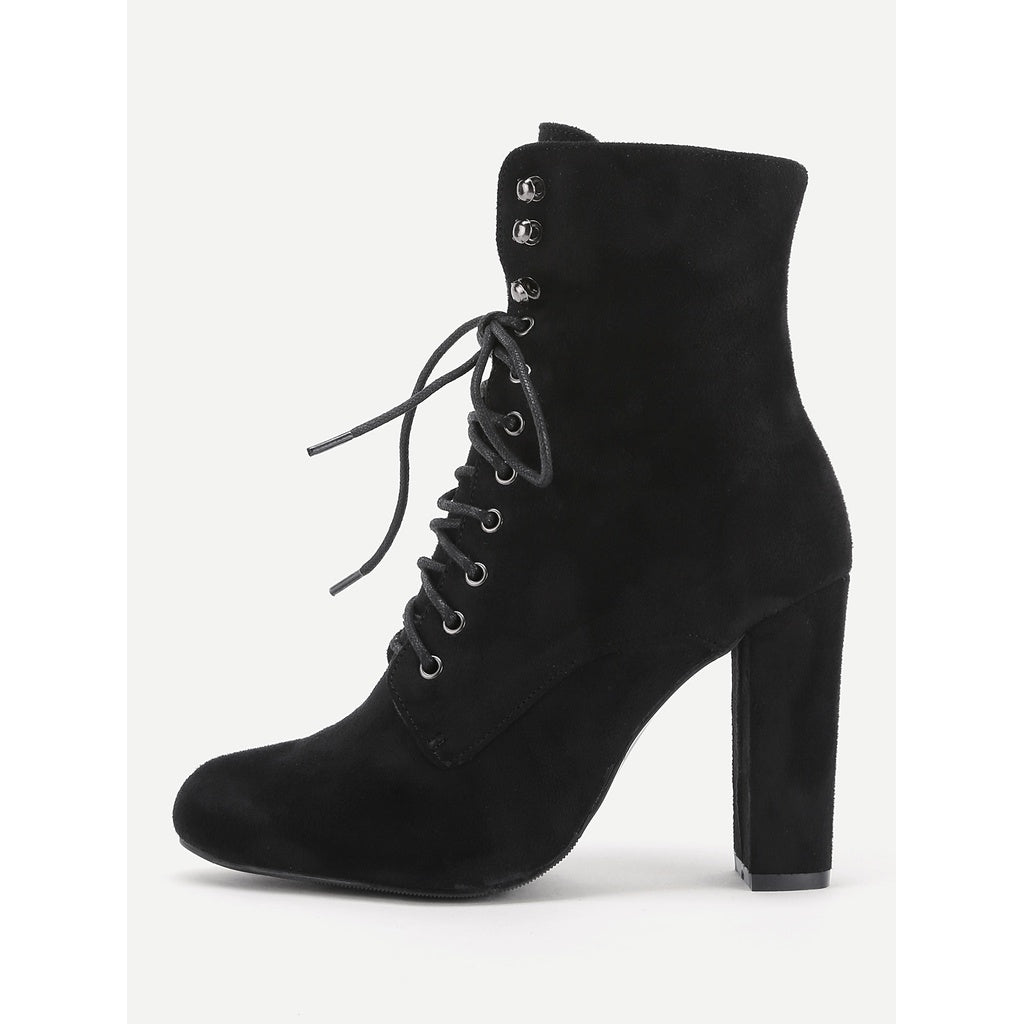 Lace Up High Heeled Ankle Boots - Anabella's