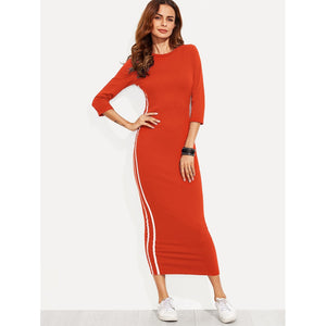 Striped Side Seam Pencil Dress Orange