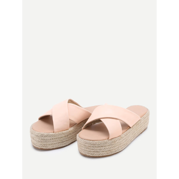 Cross Strap Woven Flatform Sliders - Anabella's
