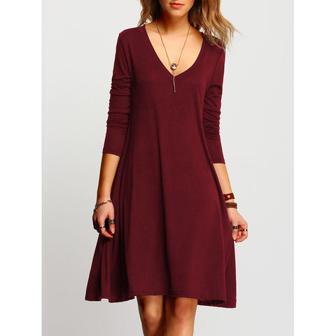 V Neckline Swing Dress Burgundy
