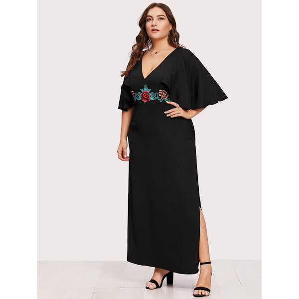 Flutter Sleeve Embroidery Split Dress - Anabella's