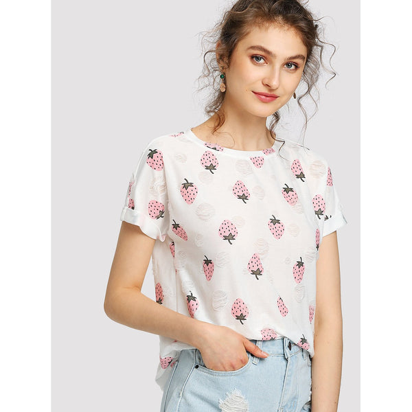 Allover Strawberry Print Cuffed Sleeve T-shirt