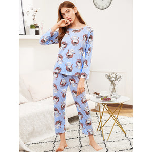 All Over Cartoon Girl Print Tee & Pants Pj Set BLUE