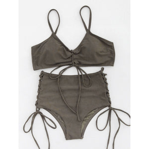 Lace Up Front And Side High Waist Bikini Set