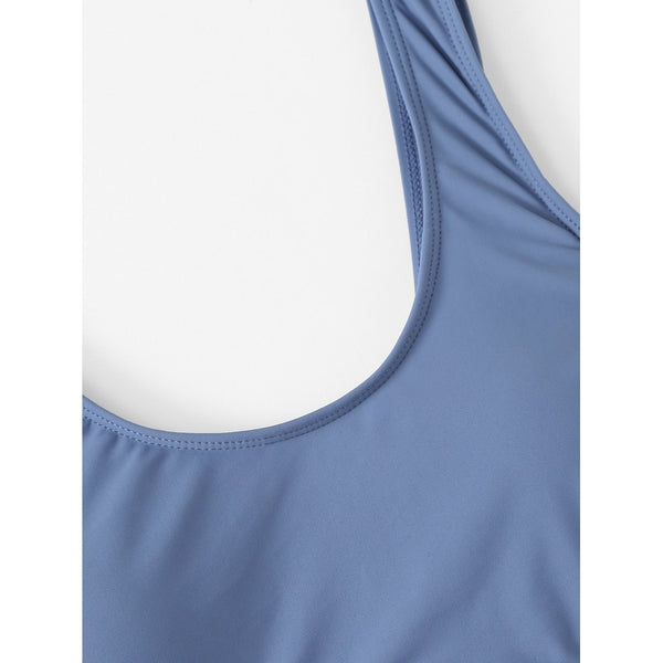 Knot side Cut Out Swimsuit BLUE