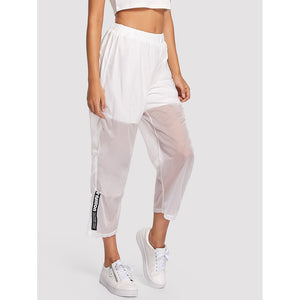 Letter Print Semi Sheer Pants White