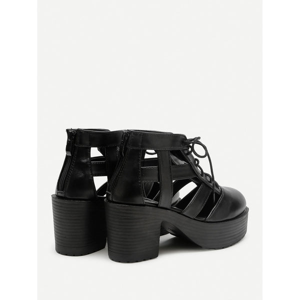 Caged Design Lace Up Platform Heeled Shoes - Anabella's