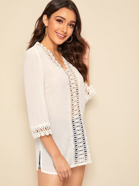 V Neck Guipure Lace Insert Top