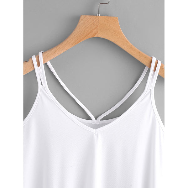Strappy Cami Top WHITE - Anabella's