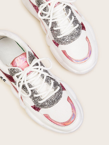 Lace-up Front Glitter Decor Sneakers