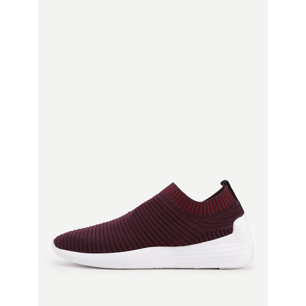 Knit Design Low Top Sneakers BURGUNDY - Anabella's