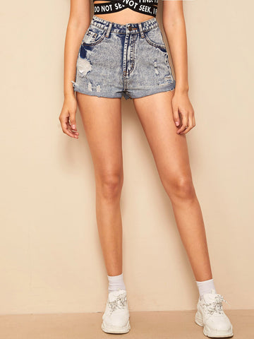 Rolled Cuff Ripped Detail Denim Shorts