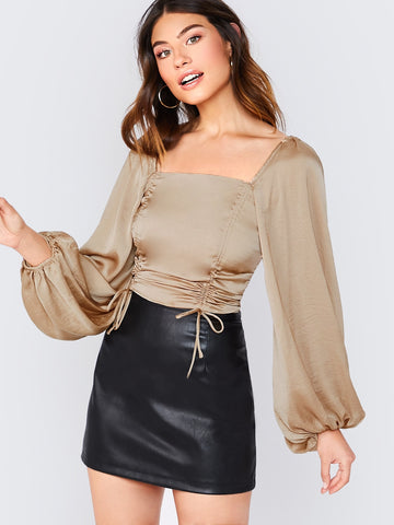 Puff Sleeve Drawstring Ruched Satin Blouse