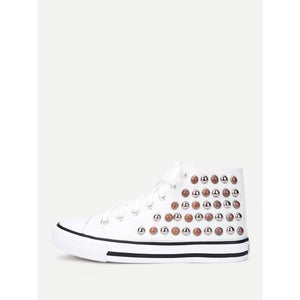 Lace Up Studded Detail Slip On Sneakers - Anabella's